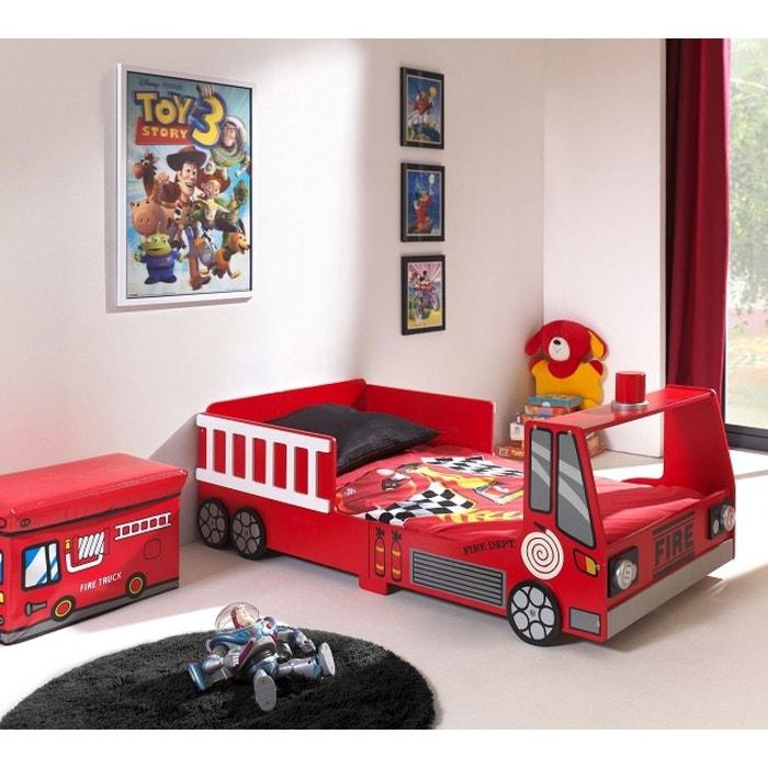 lit enfant pompier mini truck 70x140 rouge terre de nuit. Black Bedroom Furniture Sets. Home Design Ideas