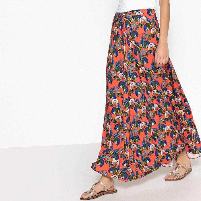 Falda larga y vaporosa con estampado de papagayo  La Redoute Collections image 0