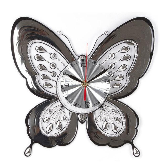 sticker pendule en relief papillon gris atmosphera la redoute. Black Bedroom Furniture Sets. Home Design Ideas