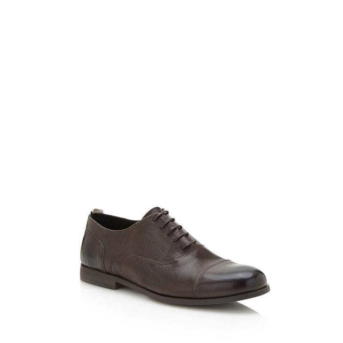 Chaussure a lacets dave cuir gris foncé Guess