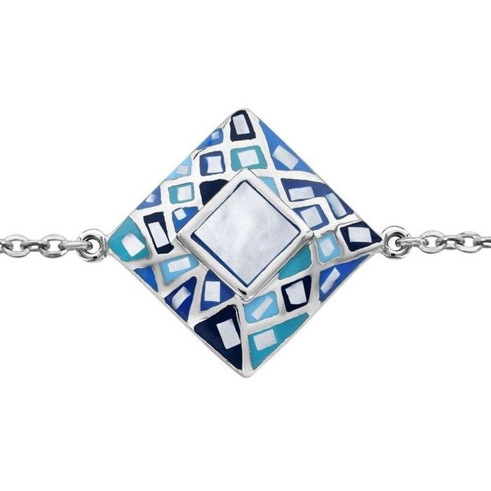 Bracelet longueur réglable: 16 à 19 cm carré bleu nacre blanche acier inoxydable couleur unique So Chic Bijoux | La Redoute Choisir Un Meilleur Jeu 1LIms