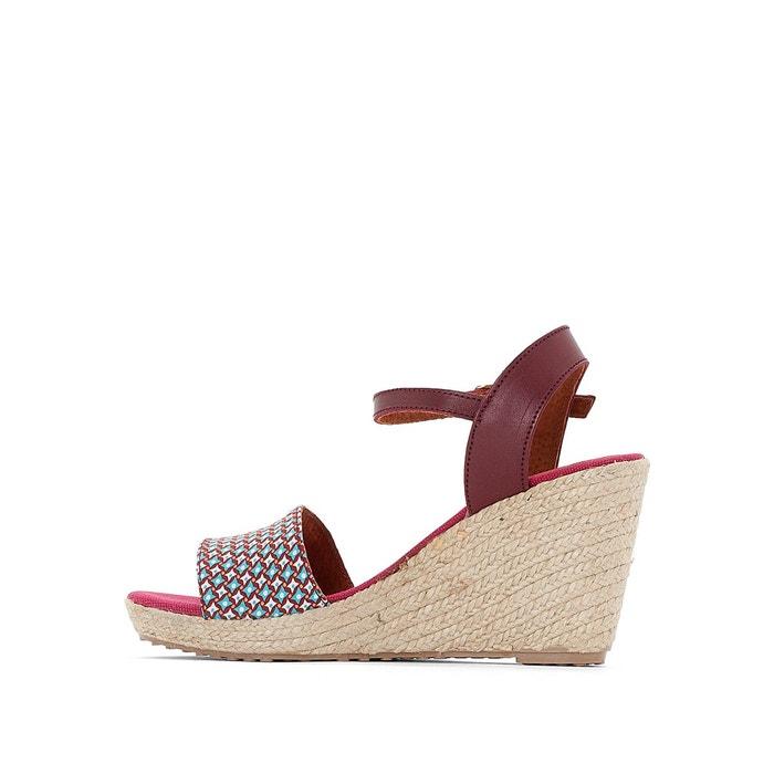 Sandales talon compensé marina bordeaux Pare Gabia