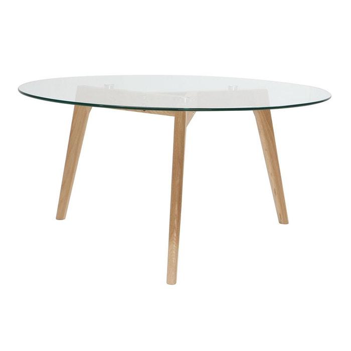 Table Basse Ronde Design Contemporain Verre Et Bois Davos Bois Verni