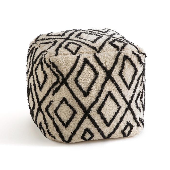 pouf style berb re cali la redoute interieurs ecru noir la redoute. Black Bedroom Furniture Sets. Home Design Ideas