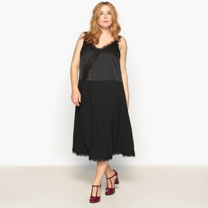robe droite uni longue fines bretelles noir castaluna la redoute. Black Bedroom Furniture Sets. Home Design Ideas