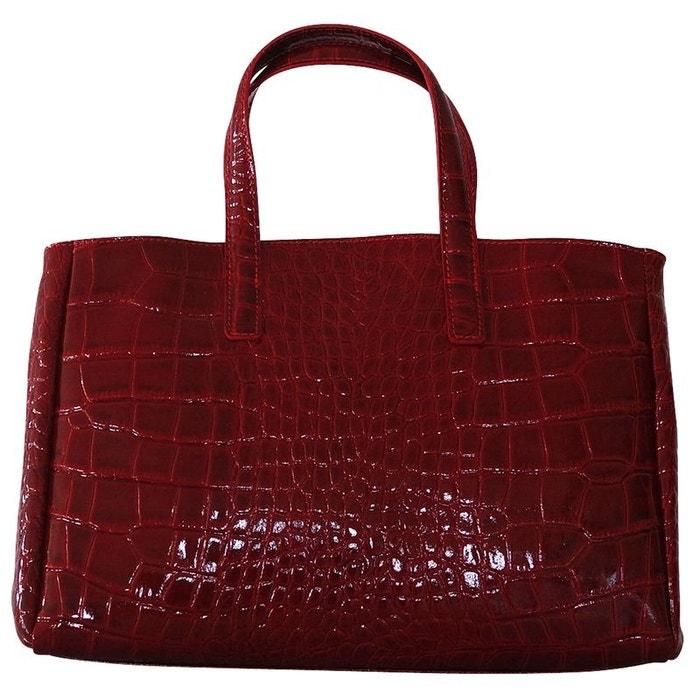 7c95d09dd3 Sac a main cuir vernis rouge rouge Chapeau-Tendance | La Redoute