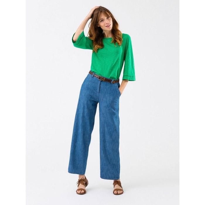 pantalon femme denim light coupe droit large 7 8 me likas bleu vif uni somewhere la redoute. Black Bedroom Furniture Sets. Home Design Ideas
