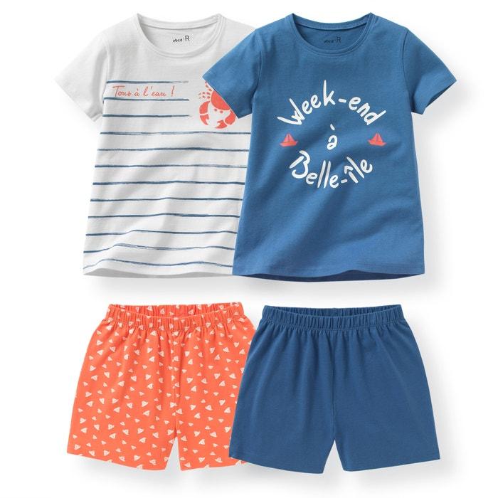 Imagen de Pijama con short de punto 2-12 años (lote de 2) La Redoute Collections
