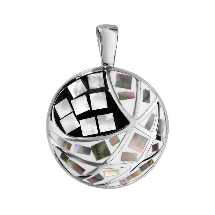 Pendentif rond noir blanc nacre blanche acier inoxydable couleur unique So Chic Bijoux | La Redoute Vente De Nouveaux Styles vR8QWcF