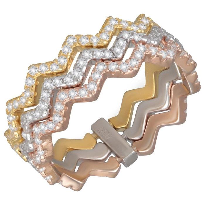 Vue Prise sam. Bague anneaux ondulés tricolore rose jaune argent 925é oxyde de zirconium blanc argent 925 couleur unique So Chic Bijoux | La Redoute a9VYFqX7oo