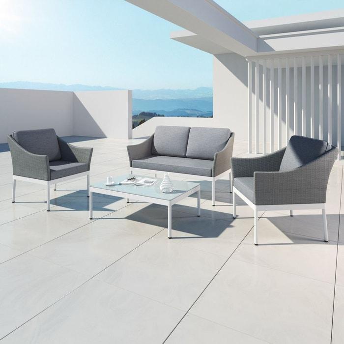 Salon de jardin aluminium resine tressee, 4 places, gris, HELGA