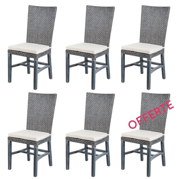 Lot 6 chaises en rotin grises ellen chaises de salle for La redoute chaises de salle a manger