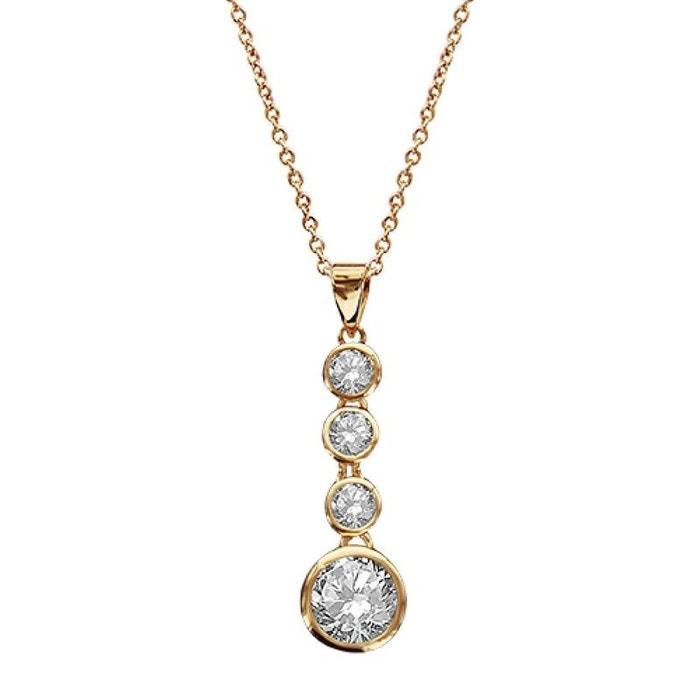 Collier femme longueur réglable: 38 à 44 cm 4 pierres oxyde de zirconium blanc plaqué or 750 couleur unique So Chic Bijoux | La Redoute Vente Meilleure Vente l5h71