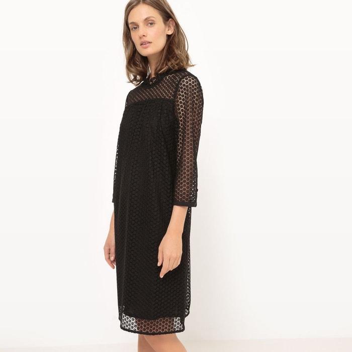 robe en dentelle manches 3 4 noir la redoute collections la redoute. Black Bedroom Furniture Sets. Home Design Ideas