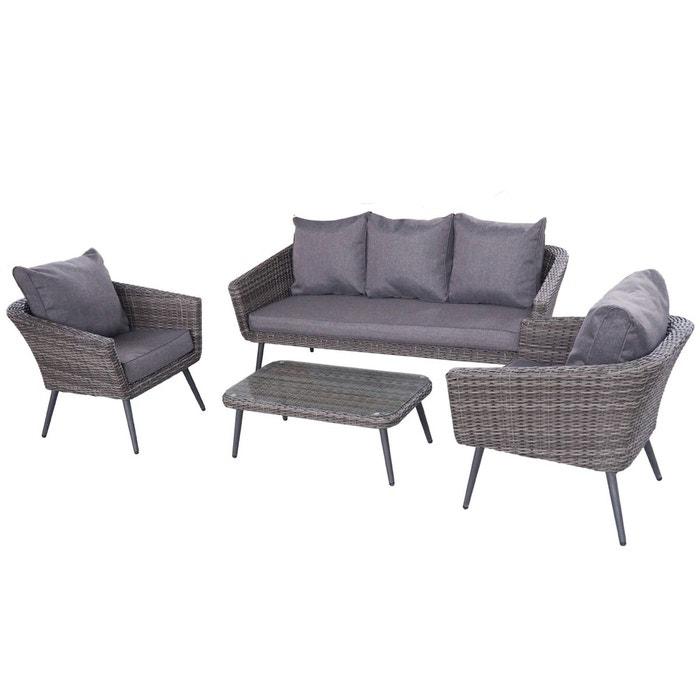 ensemble salon de jardin scandinave aluminium 5 places rsine tresse extrieur gris gris - Ensemble Salon De Jardin