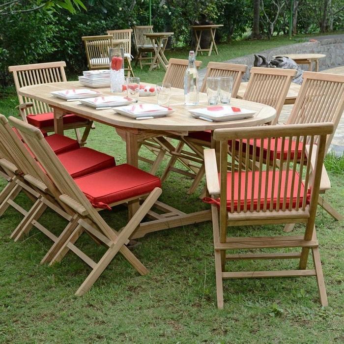 Salon de jardin en teck Ecograde Aore, table extensible avec 8 chaises et 2  fauteuils Java