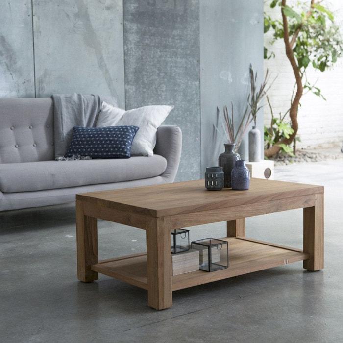 Table basse en bois de teck 100x60 eve teck brut tikamoon la redoute La petite table basse en bois brut