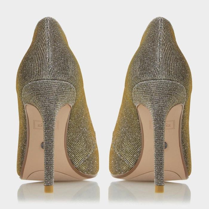Escarpins à bout arrondi ornés de bijou - barbi doré fabric Dune London