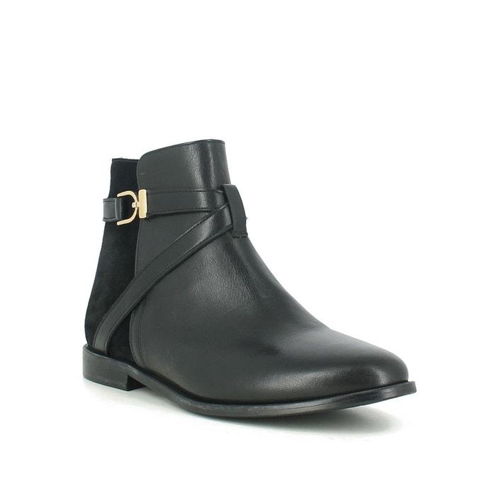 Boots pointues à boucle et à zip en cuir noir Jonak noir