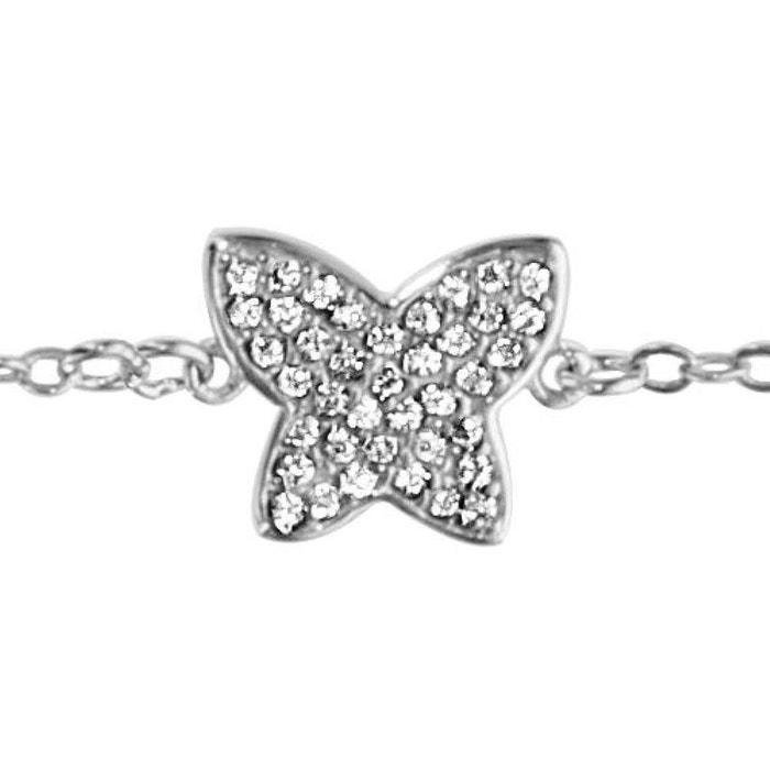 Jeu À La Mode Bracelet longueur réglable: 16 à 18 cm papillon oxyde de zirconium blanc argent 925 couleur unique So Chic Bijoux | La Redoute Vente En Gros Le Meilleur 5G3YC2mP