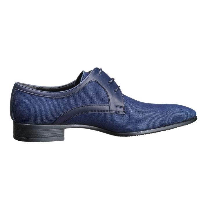 Chaussure derbie bi matière bleu Leader Mode