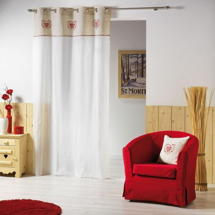 voilage avec broderie l 39 esprit montagne chic naturel. Black Bedroom Furniture Sets. Home Design Ideas
