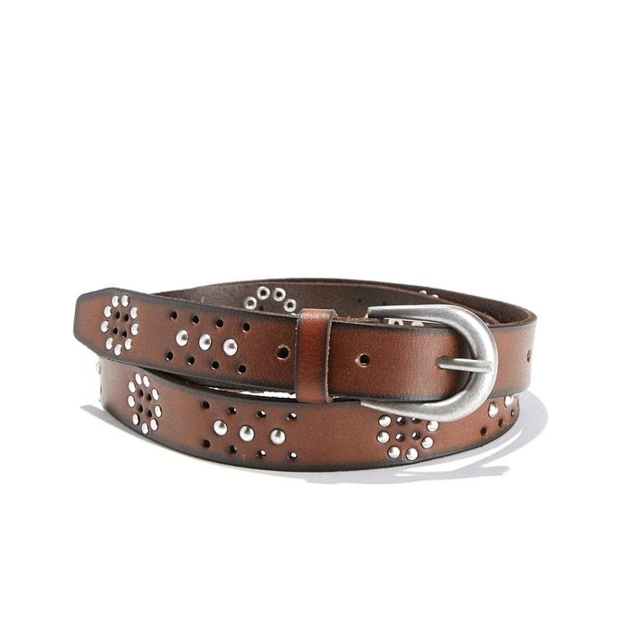 Cinturón de piel con tachuelas planas y orificios  La Redoute Collections image 0