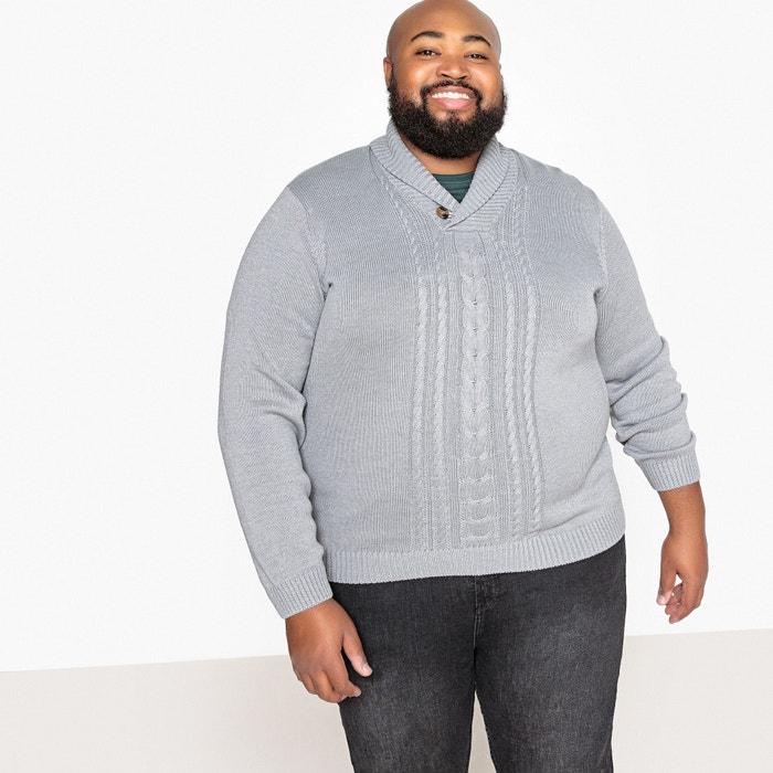 Plus Size Chunky Knit Shawl Collar Jumpersweater Grey Marl