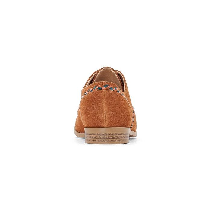 Derbies cuir détail tresse camel La Redoute Collections