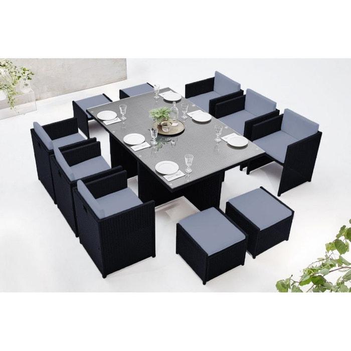 Salon de jardin family 10 noir/gris Bobochic | La Redoute