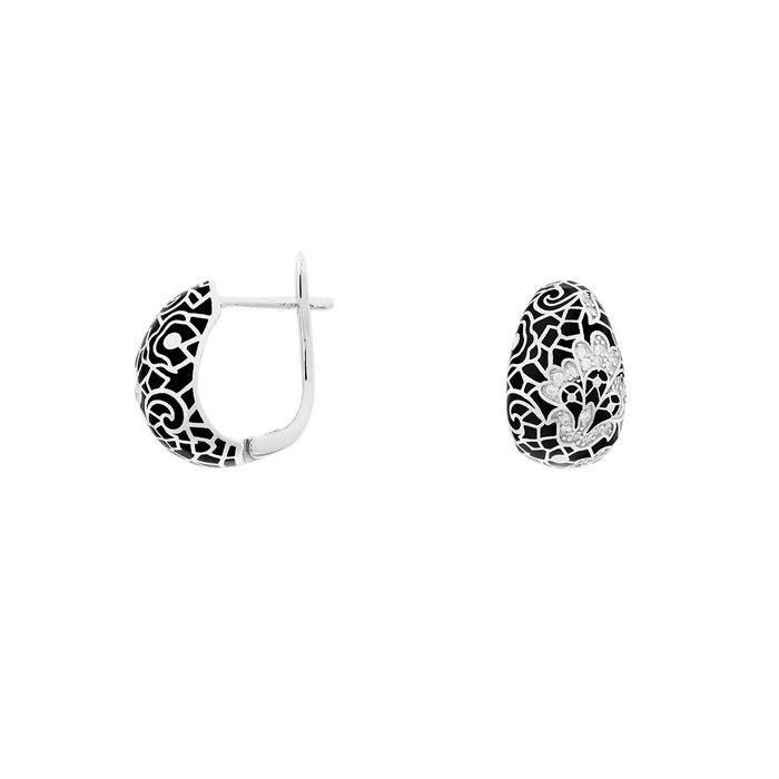 Boucles d'oreilles argent 925/1000 email noir Noïa | La Redoute Site Officiel 4rWDwK
