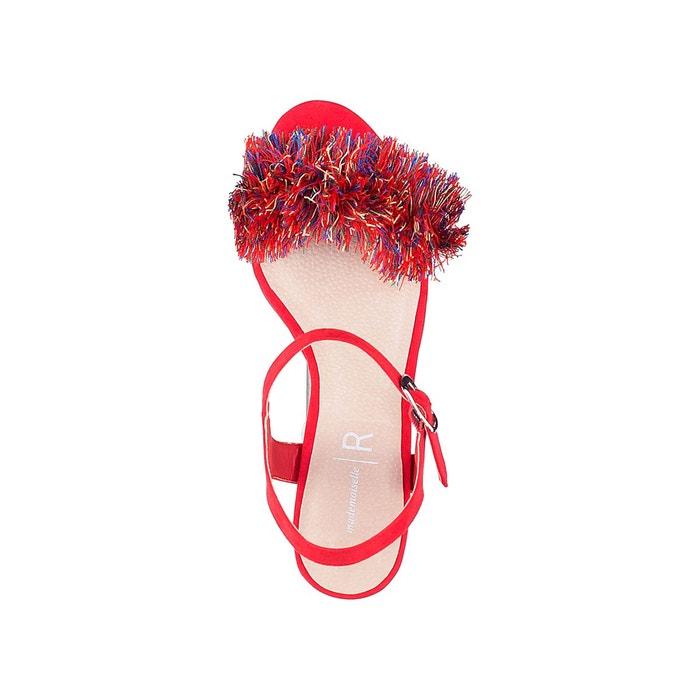 Sandales détail pompons corail La Redoute Collections