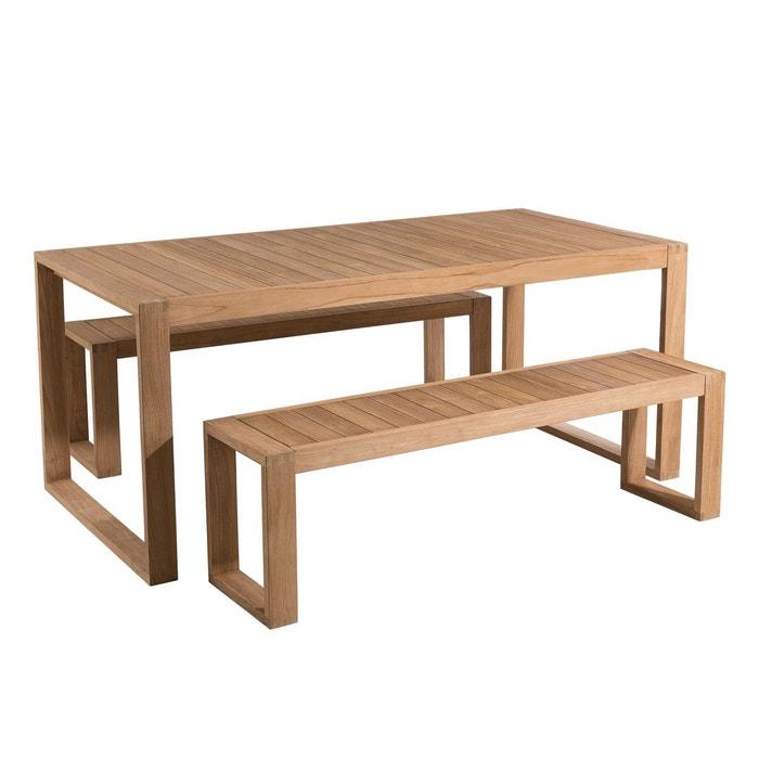Salon de jardin contemporain bois teck table de jardin 180x90cm + 2 bancs 3  places BERGEN