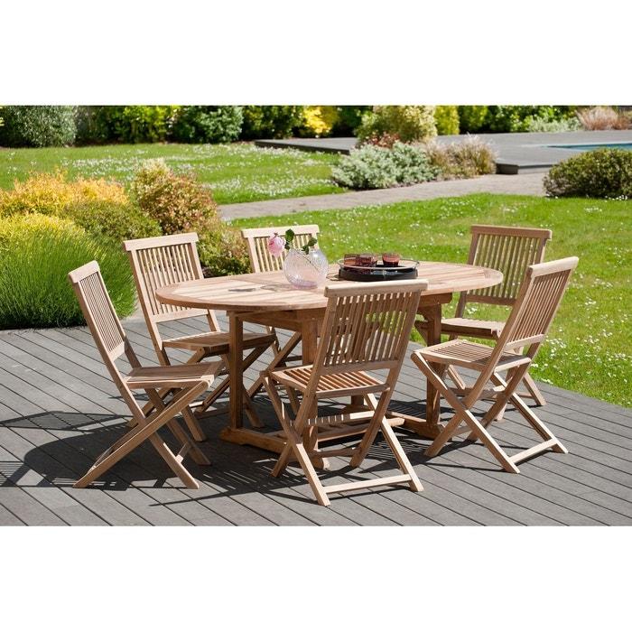 Salon de jardin table d\'extérieur extensible ovale 120/180x90cm 6 chaises  pliantes en bois de teck SUMMER