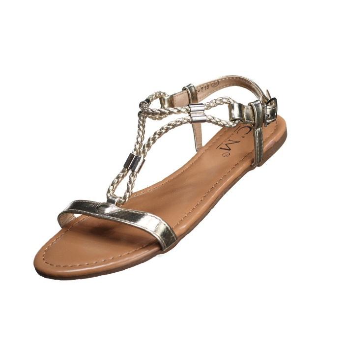 Sandales à détail métallique  jaune Leader Mode  La Redoute