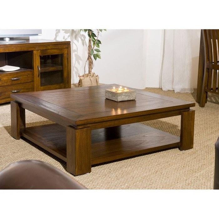 Table Basse Carrée 90cm Style Exotique Double Plateau Bois Mindi Verni Lola