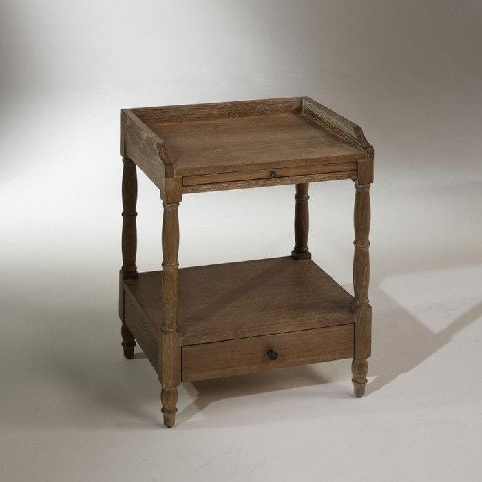 table de nuit ch ne 1 tiroir 1 tablette coulissante chopin ch ne clair c rus robin des bois. Black Bedroom Furniture Sets. Home Design Ideas