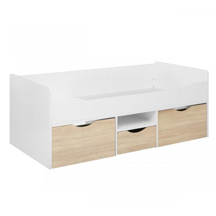 lit enfant blanc tiroirs bois 90x190 lt3000 blanc terre de. Black Bedroom Furniture Sets. Home Design Ideas