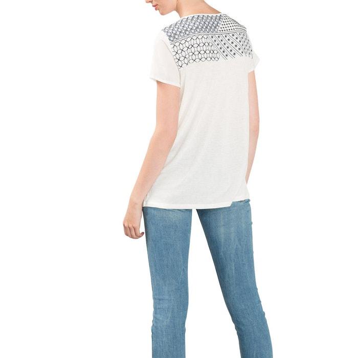 afbeelding T-shirt in 2 stoffen met borduursels en parels ESPRIT