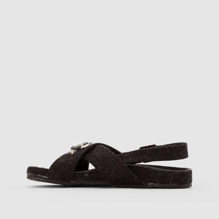 Sandales feutrine détail bijou gris La Redoute Collections