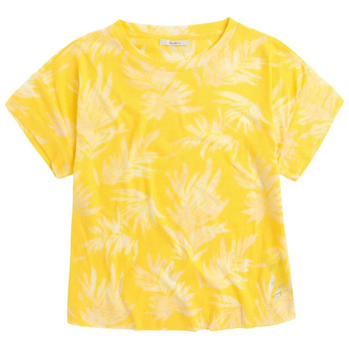 con cuello estampado Camiseta y de redondo manga PEPE flores corta JEANS 6xUwqBC