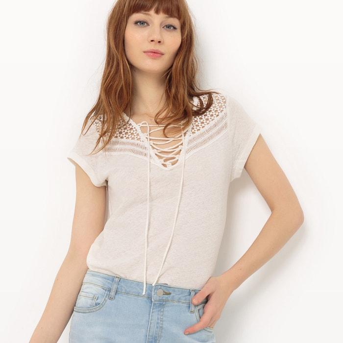 afbeelding Effen T-shirt met V-hals SUNCOO