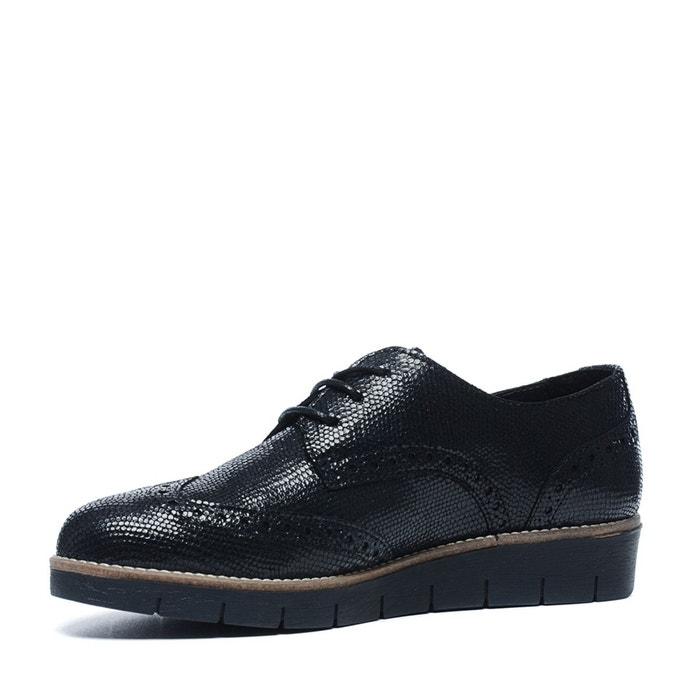 Chaussures à lacets métallisées noir Sacha