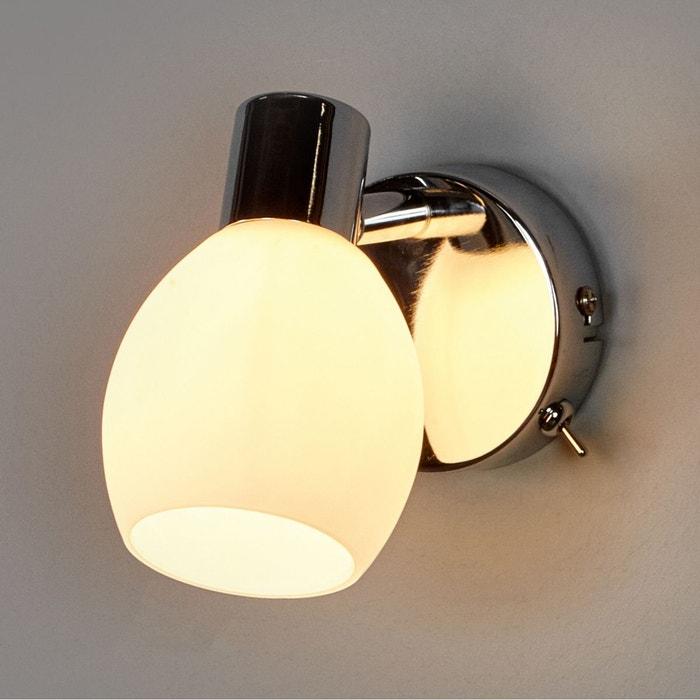 applique led aidan avec abat jour en verre blanc chrom lampenwelt la redoute. Black Bedroom Furniture Sets. Home Design Ideas