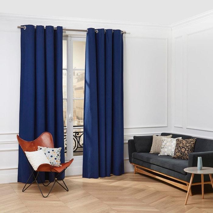 rideau oeillets coton cordoba bleu marine bleu marine. Black Bedroom Furniture Sets. Home Design Ideas