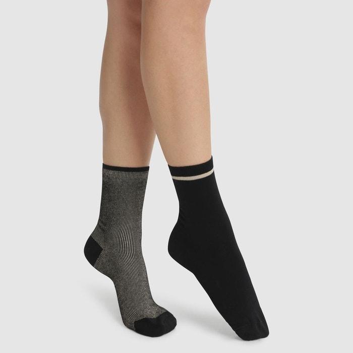 bc08f15e9f401 Lot de 2 mi-chaussettes coton et fil textile noir lurex or Dim   La Redoute