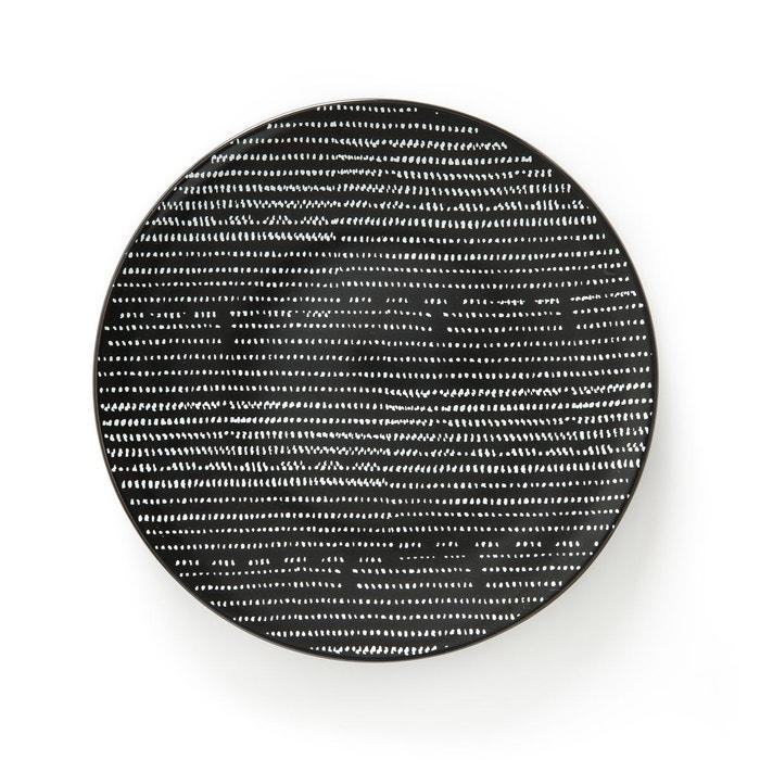 lot 4 assiettes plates tadsit imprim noir blanc la redoute interieurs la redoute. Black Bedroom Furniture Sets. Home Design Ideas