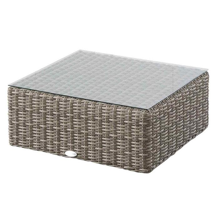 table basse carr e pour salon de jardin r sine tress e libertad couleur unique hesperide la. Black Bedroom Furniture Sets. Home Design Ideas