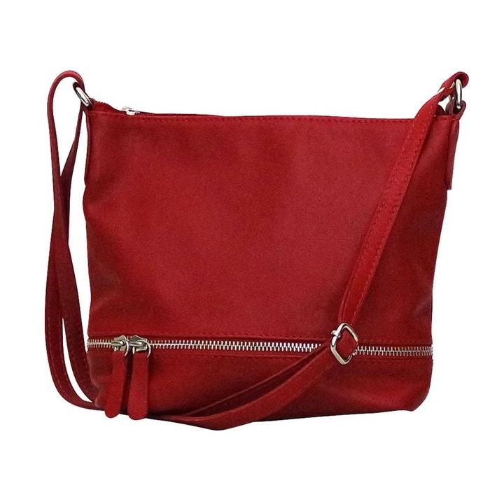 sac besace rouge cuir