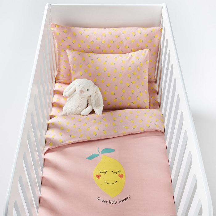 housse de couette imprim e b b sweet lemon jaune rose la redoute interieurs la redoute. Black Bedroom Furniture Sets. Home Design Ideas